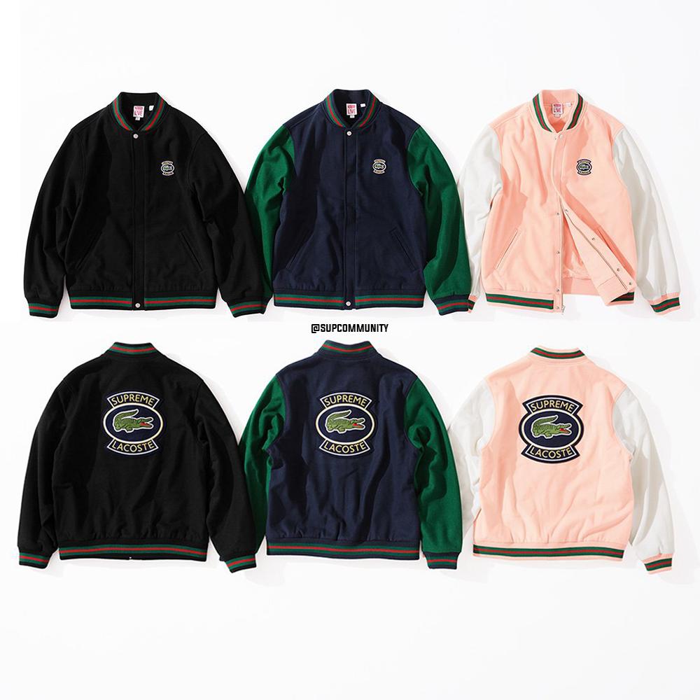 Details Supreme Lacoste Wool Varsity Jacket