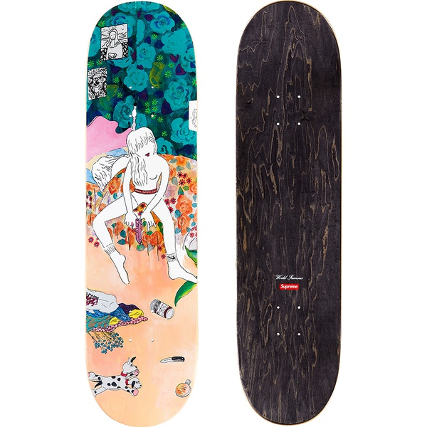 Bedroom Skateboard - Black veneer Supreme skate deck with printed graphic on bottom. Printed World Famous and box logo on top.