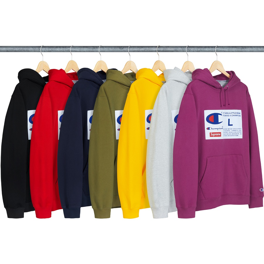 Supreme®/Champion® Label Hooded Sweatshirt - Cotton fleece with pouch pocket and woven logo patch on chest. Made exclusively for Supreme.
