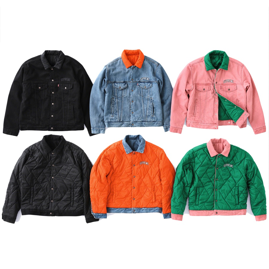 Supreme®/Levi's® Quilted Reversible Trucker Jacket - Custom fit stone washed cotton denim with fill and quilted nylon reverse side. Snap front closure with co-branded hardware, hand pockets at lower front and chest pockets with snap closures. Embroidered logo on chest. Made exclusively for Supreme.