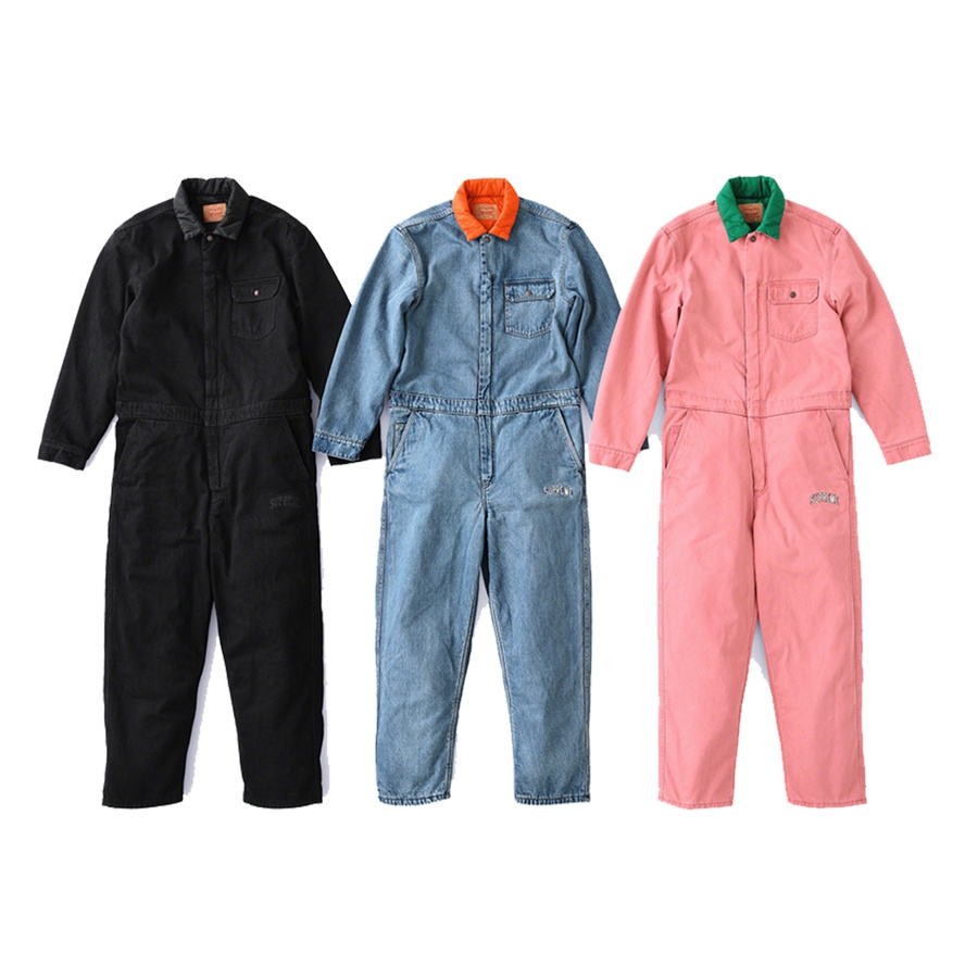 Supreme®/Levi's® Denim Coveralls - Custom fit stone washed cotton denim with fill and quilted nylon lining. Two-way zip closure with hidden snap placket. Slanted front pockets with single coin pocket and patch pockets on chest and seat. Embroidered logo on leg. Made exclusively for Sup...