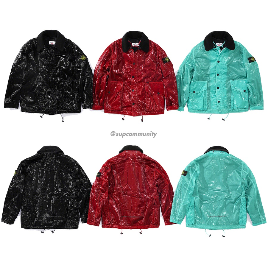 Supreme®/Stone Island® New Silk Light Jacket - Water and wind resistant lightweight nylon tela laminated with glossy polyurethane coating and garment dyed. Full zip closure with snap placket and snap flap patch pockets at lower front. Velcro closures at cuffs and interior drawcord at hem. Removabl...
