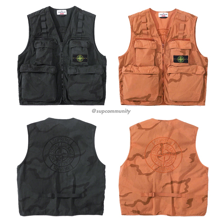 Supreme®/Stone Island® Camo Cargo Vest - Water resistant brushed cotton canvas with printed pattern and pigment overdye. Full zip closure with zip chest pockets and velcro cargo pockets at lower front and chest. Elastic utility webbing at chest and adjustable webbing strap at lower back. Rem...