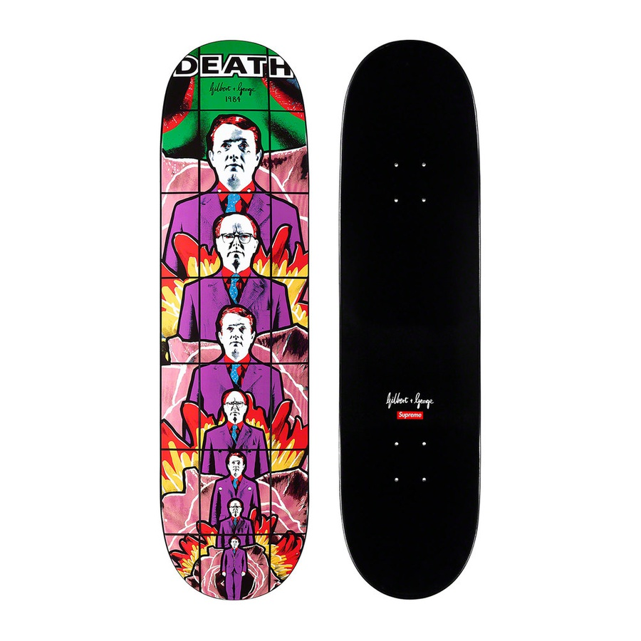 Gilbert & George/Supreme DEATH Skateboard - Full dipped black Supreme skate deck with printed graphic on bottom. Printed box logo and artist signature on top. Original artwork by Gilbert & George.
