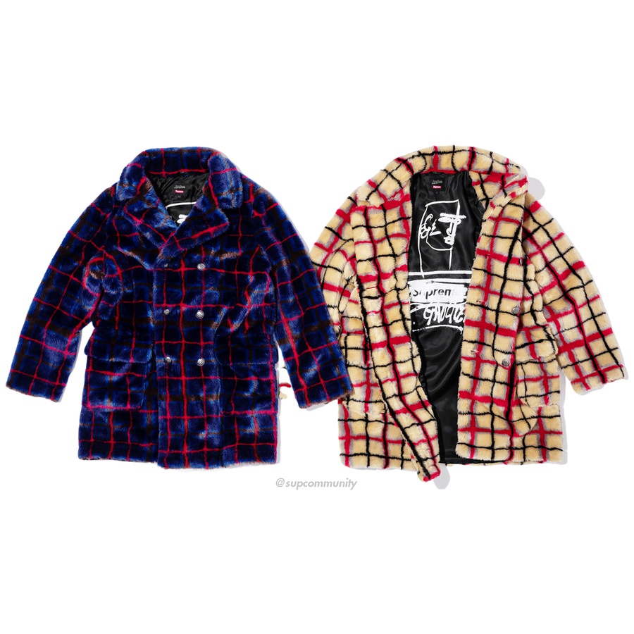 Supreme®/Jean Paul Gaultier® Double Breasted Plaid Faux Fur Coat - Faux fur with jacquard pattern and bemberg lining with printed graphic. Double breasted button front closure with patch pockets at lower front and interior chest pocket. Enamel logo plate at back neck.