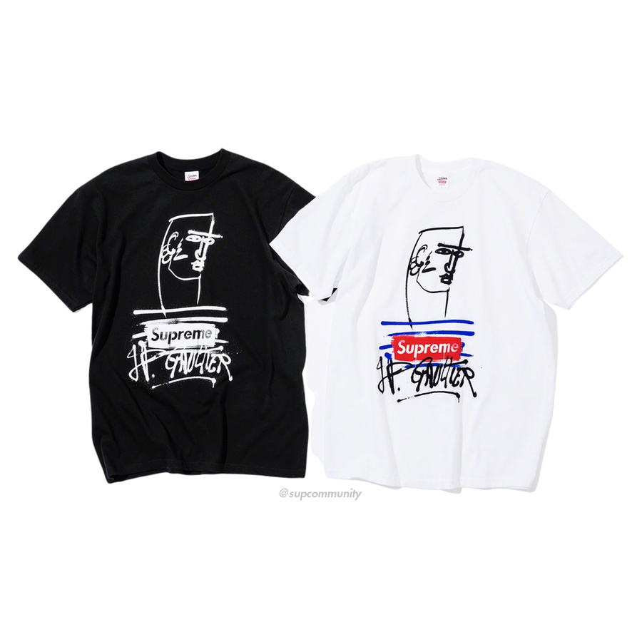 Supreme®/Jean Paul Gaultier® Tee - All cotton classic Supreme t-shirt with printed graphic on front.
