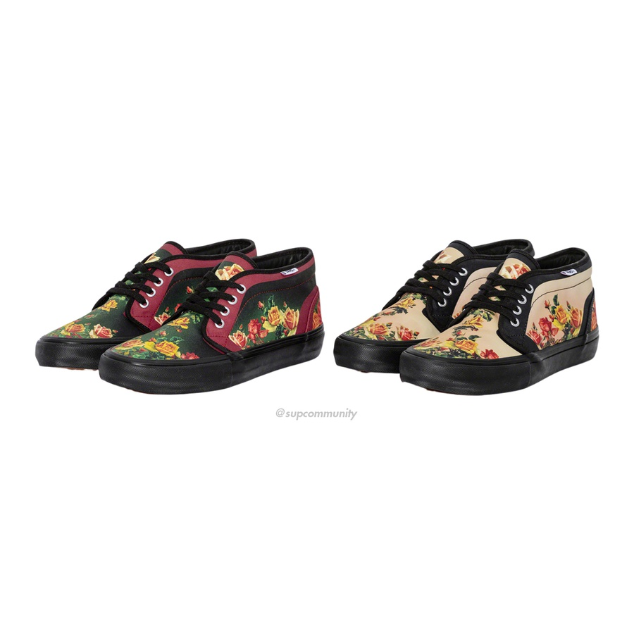 Supreme®/Vans® Jean Paul Gaultier® Floral Print Chukka Pro - Premium canvas upper with printed pattern. Leather lining and insole with vulcanized waffle outsole and custom heel label. Made exclusively for Supreme.