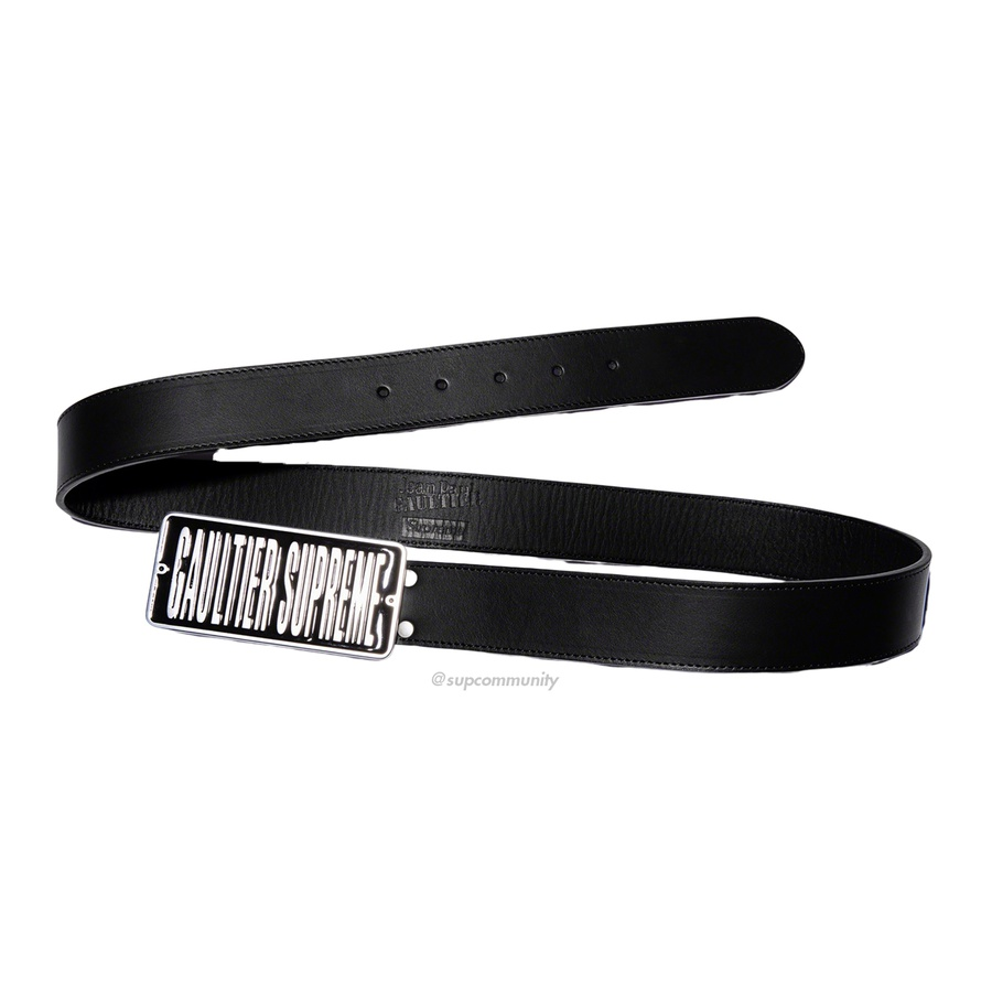 Supreme®/Jean Paul Gaultier® Belt - Cowhide leather with custom enamel logo buckle and debossed logos at back.