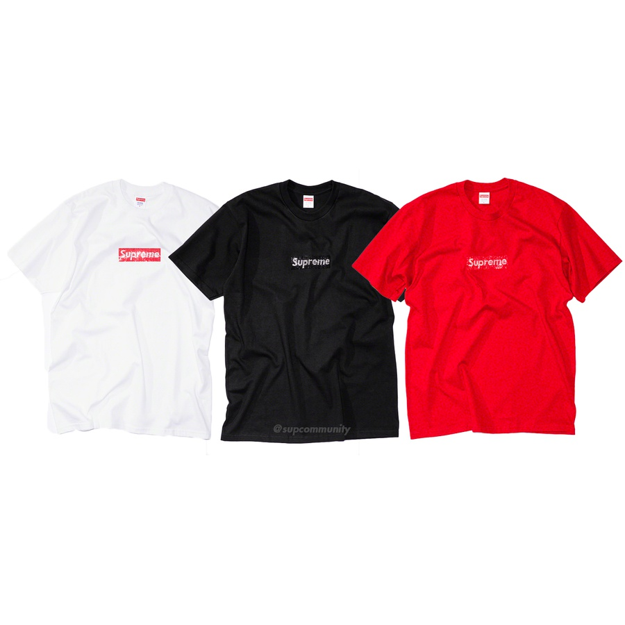 Supreme®/Swarovski® Box Logo Tee - All cotton classic Supreme t-shirt with Swarovski® crystal appliqué logo on front. 1,161 crystals applied by hand in New York City.