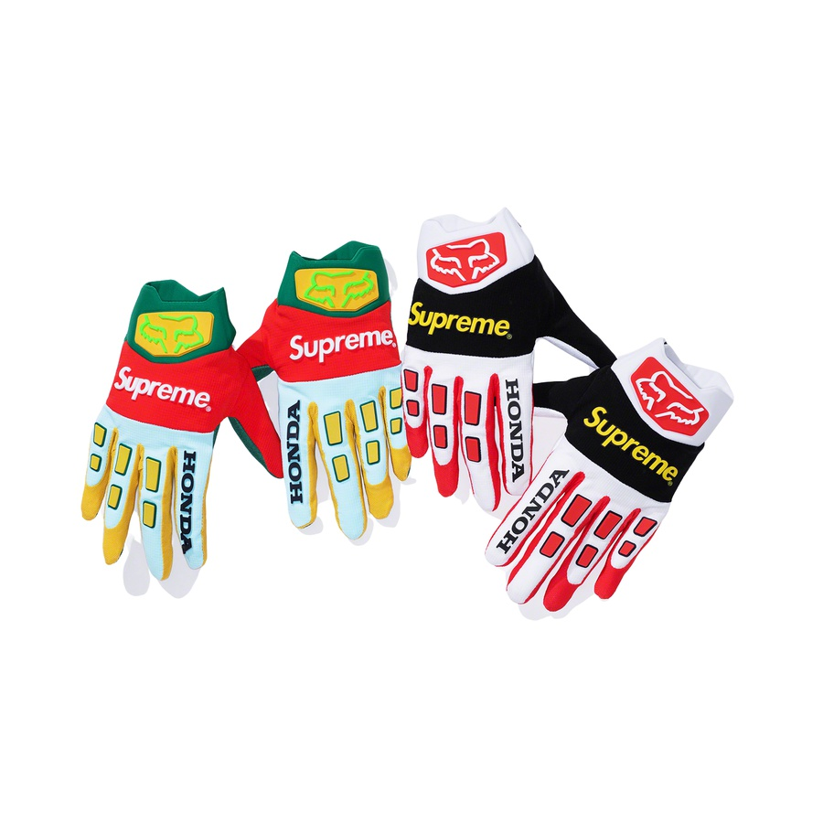 Supreme®/Honda® Fox® Racing Gloves - Fox Racing® Gloves with stretch nylon construction, direct inject TPR knuckle coverage, molded neoprene cuff and silicone gripper at fingertips. Jacquard logos on top. Made exclusively for Supreme.