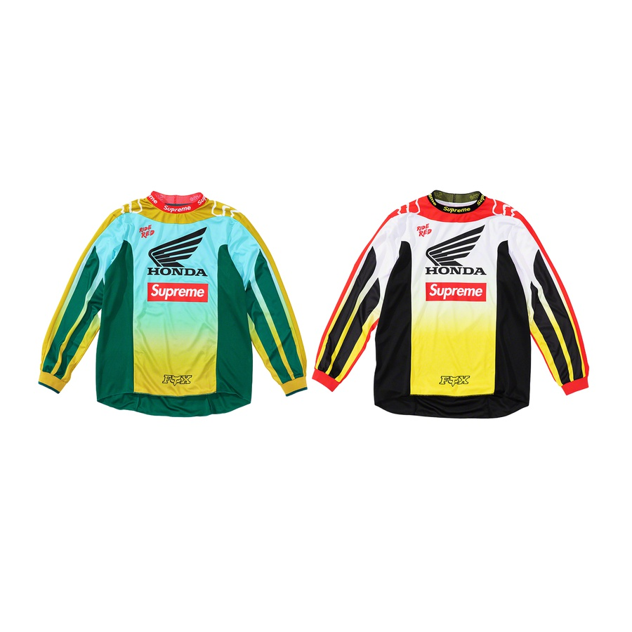 Supreme®/Honda®/Fox® Racing Moto Jersey Top - Moisture wicking poly. Sublimated graphics with heat transfer logos at chest and back. Jacquard logo knit collar and rib cuffs. Relaxed fit. Please refer to sizing for updated measurements. Made exclusively for Supreme.