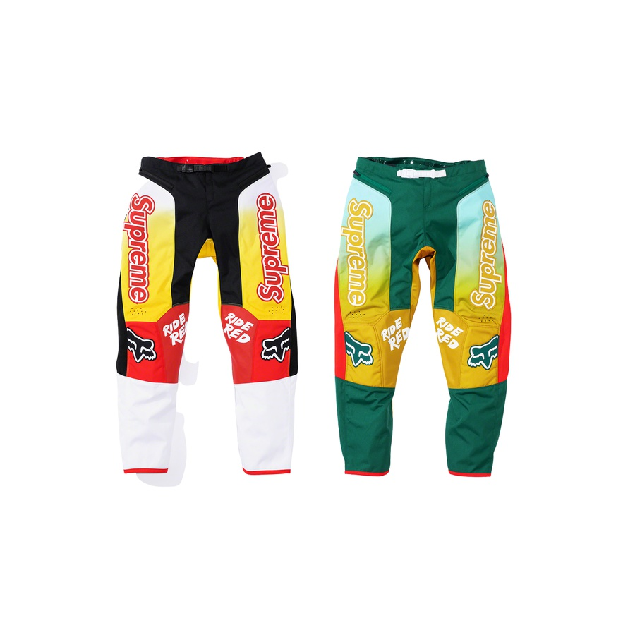 Supreme®/Honda®/Fox® Racing Moto Pant - 600D poly and stretch ripstop poly with laser perforation and mesh vents at knee. Ratchet waist closure with zip hand pockets and jacquard knit side panels. Sublimated graphics with logo leather appliqué at thigh and knee. Relaxed fit. Please refer to...