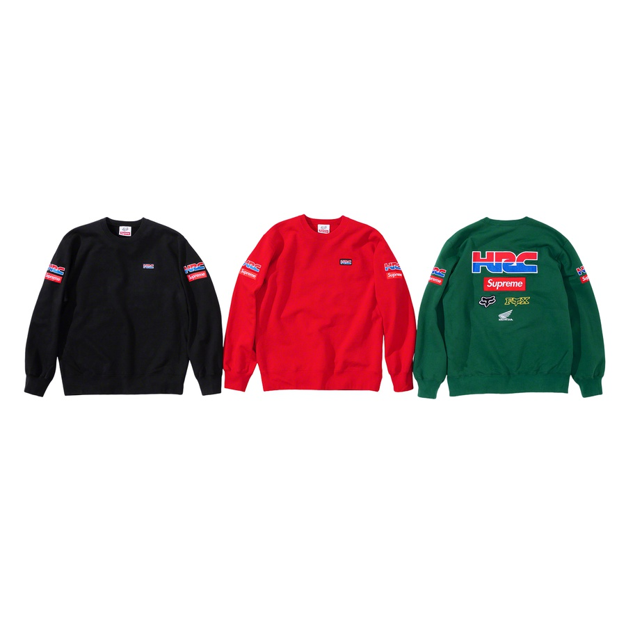 Supreme®/Honda®/Fox® Racing Crewneck - Cotton fleece with embroidered logos on chest, sleeves and back.