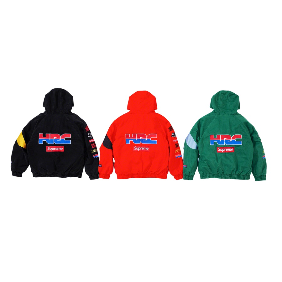 Supreme®/Honda®/Fox® Racing Puffy Zip Up Jacket - All cotton twill with fill and quilted nylon lining. Hand pockets at lower front and interior chest pocket. Interior drawcord at hood with elastic cuffs and hem. Embroidered graphic and logos on front, sleeves and back.