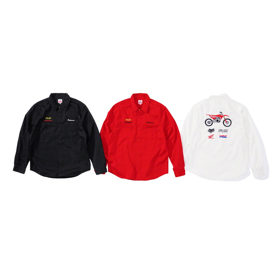 Supreme®/Honda®/Fox® Racing Work Shirt - Cotton blend twill with utility pockets. Embroidered graphic on back and embroidered logos on chest and back.