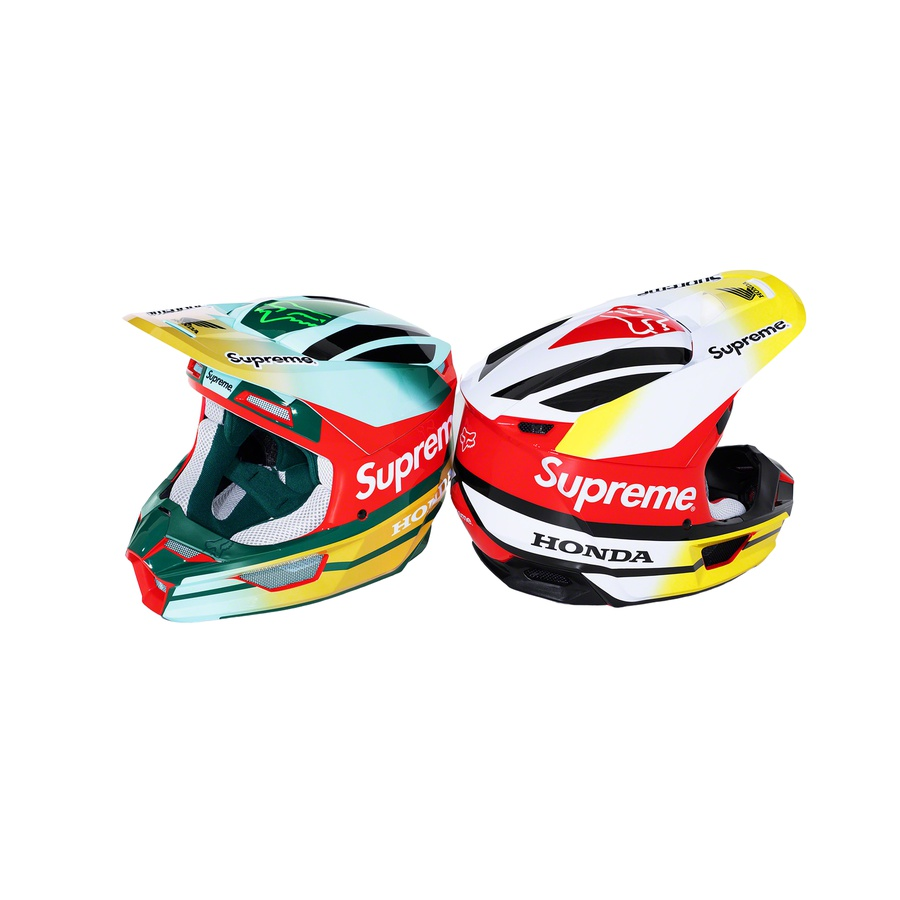 Supreme®/Honda® Fox® Racing V1 Helmet - Fox Racing® molded ABS and polycarbonate V1 Helmet with Magnetic Visor Release. Ventilation system includes nine intake and four exhaust vents. Printed logos on top, sides and front. Meets ECE 22.05 and D.O.T certifications. Made exclusively for Supreme.