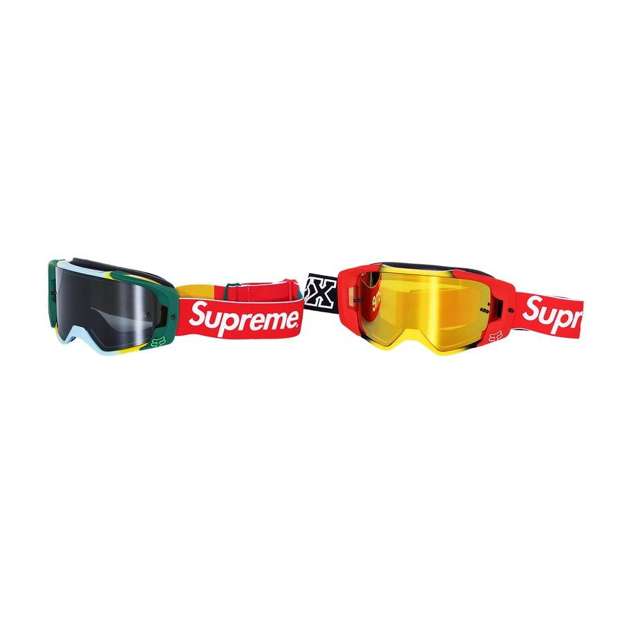 Supreme®/Honda® Fox® Racing Vue Goggles - Fox Racing® VUE® Goggle with wide view port, injected-molded polycarbonate hard lens and TruLock quick change lens system. Printed logos on strap. Made exclusively for Supreme.