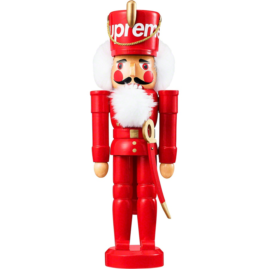 "Nutcracker - 11"" wooden nutcracker with printed logo on hat."