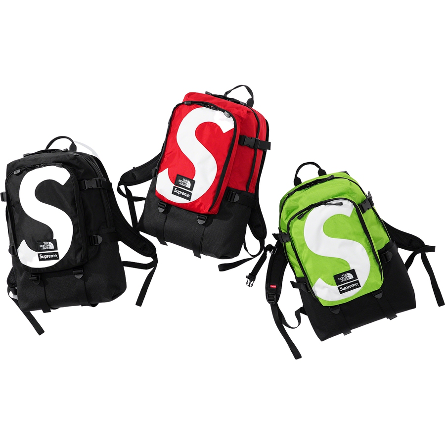 Supreme®/The North Face® S Logo Expedition Backpack - Water resistant 630D Cordura® nylon with 1200D poly boot. Covered zipper main compartment with embossed logo lining. Covered zipper front compartment with internal divider. Padded mesh back panel and adjustable compression straps at sides. Logo panel ...