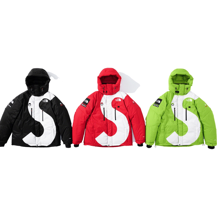 Supreme®/The North Face® S Logo Summit Series Himalayan Parka - Water resistant nylon ripstop with 800-Fill down insulation and quilted baffles. Full zip closure with draft tube velcro storm placket and snap closure. On seam zip hand pockets and zip chest pockets. Interior elastic pouch pockets and hydration compa...