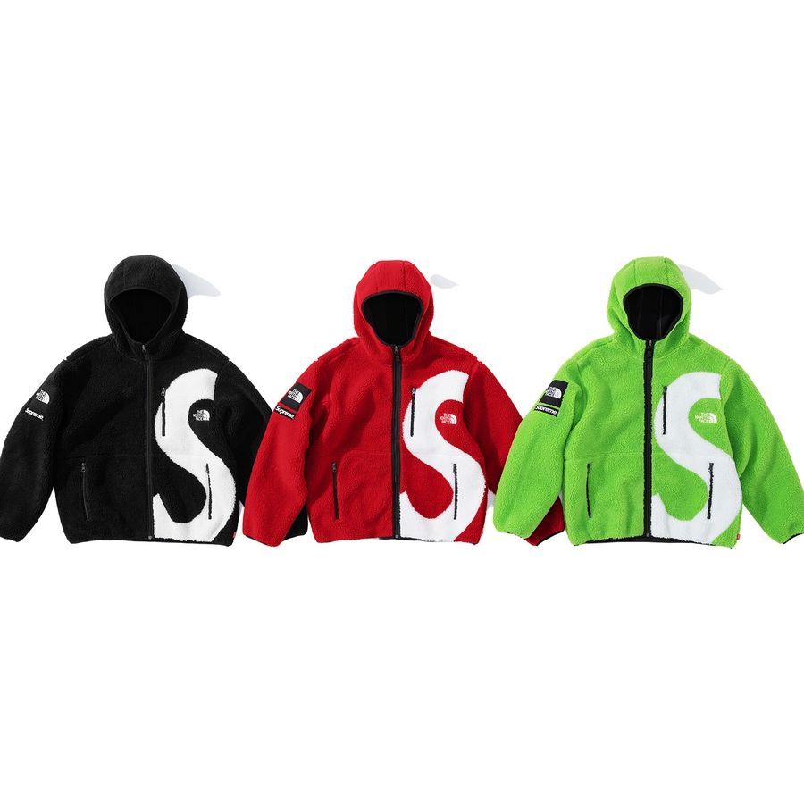 Supreme®/The North Face® S Logo Hooded Fleece Jacket - Sherpa fleece with full zip closure and fleece bonded lining. Zip hand pockets at lower front and zip chest pocket. Poly spandex binding at cuffs and hem. Jacquard logos at front and back, logo patches on sleeve and embroidered logos on chest. Made ex...