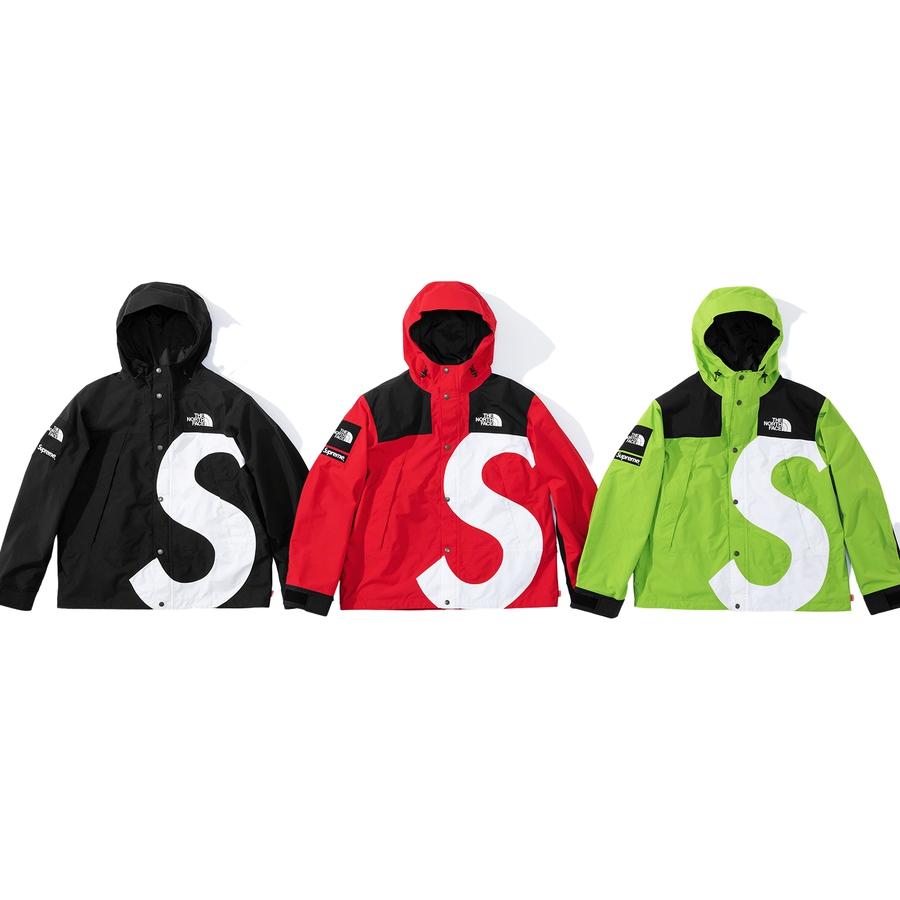 Supreme®/The North Face® S Logo  Mountain Jacket - Waterproof, breathable and fully seam-sealed Dryvent nylon with poly and nylon lining. Full zip closure with snap placket and fixed hood. Zip alpine pockets at chest and three interior zip pockets. Interior elastic shockcord at hood and hem. Velcro cl...