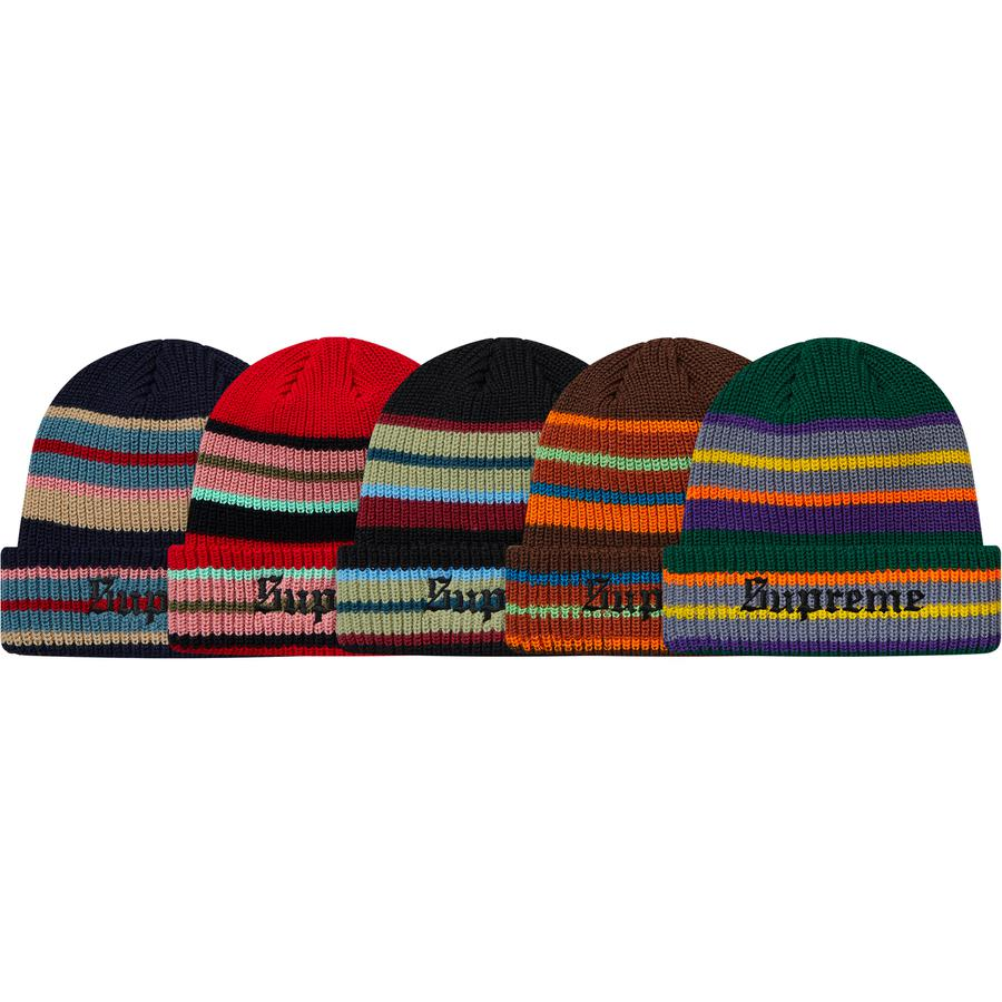 Bright Stripe Beanie - Acrylic loose gauge cuffed beanie with embroidered logo on cuff.