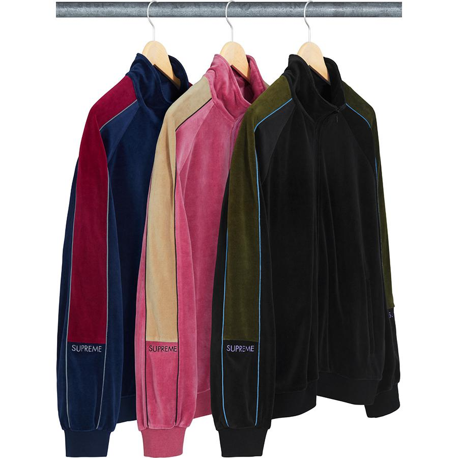 06ddbf4a3c787 Velour Track Jacket - Cotton blend velour with contrast panels and piping.  Full zip closure