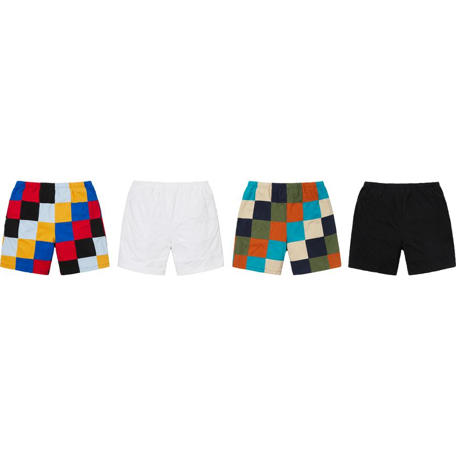 Patchwork Pique Short - All cotton pique with patchwork pattern. On seam hand pockets and single back patch pocket with embroidered logo.