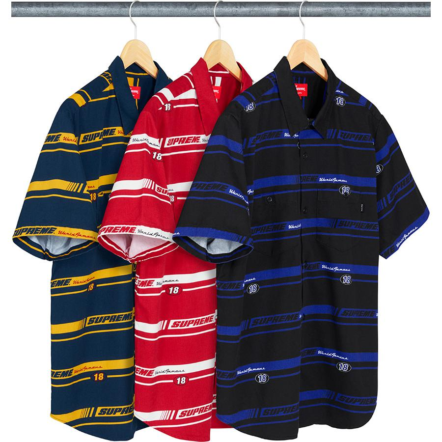 Striped Racing Work Shirt - All cotton twill with printed pattern and chest pockets with button closures.