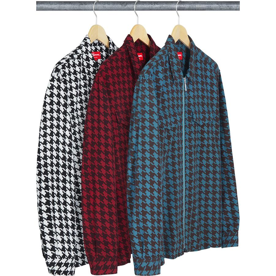 Houndstooth Flannel Zip Up Shirt - All cotton with printed pattern, full zip closure and patch pockets on chest.