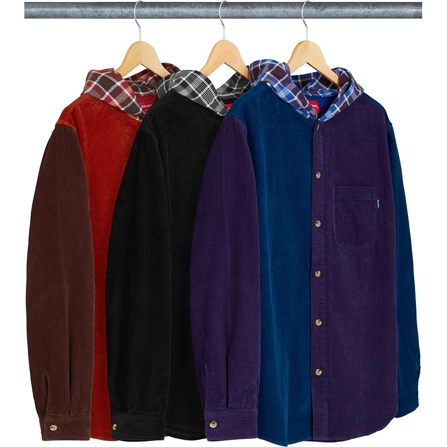 Hooded Color Blocked Corduroy Shirt - Cotton corduroy with cotton flannel hood and single chest pocket.