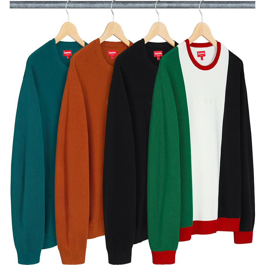 Pique Crewneck - All cotton pique crewneck with rib cuffs, collar and hem. Embroidered logo on center chest.