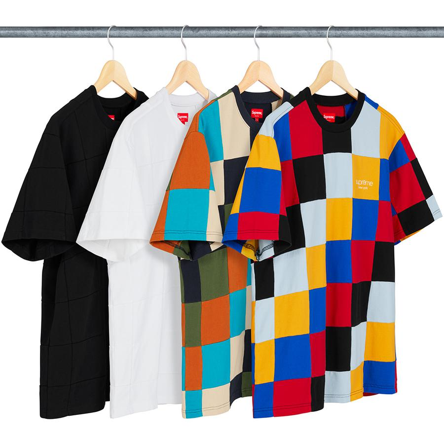 Patchwork Pique Tee - All cotton pique crewneck with patchwork pattern and embroidered logo on chest.