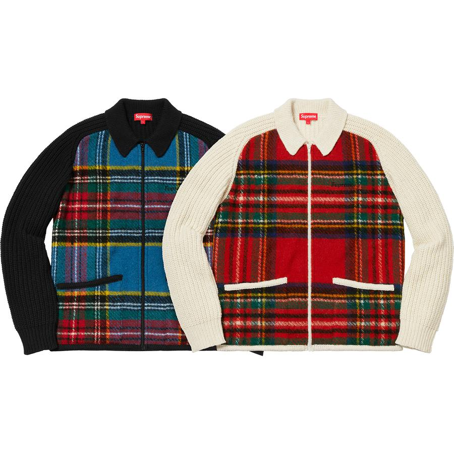 Plaid Front Zip Sweater - Wool blend with plaid wool front panels and full zip closure. Patch pockets at lower front with embroidered logo on chest.