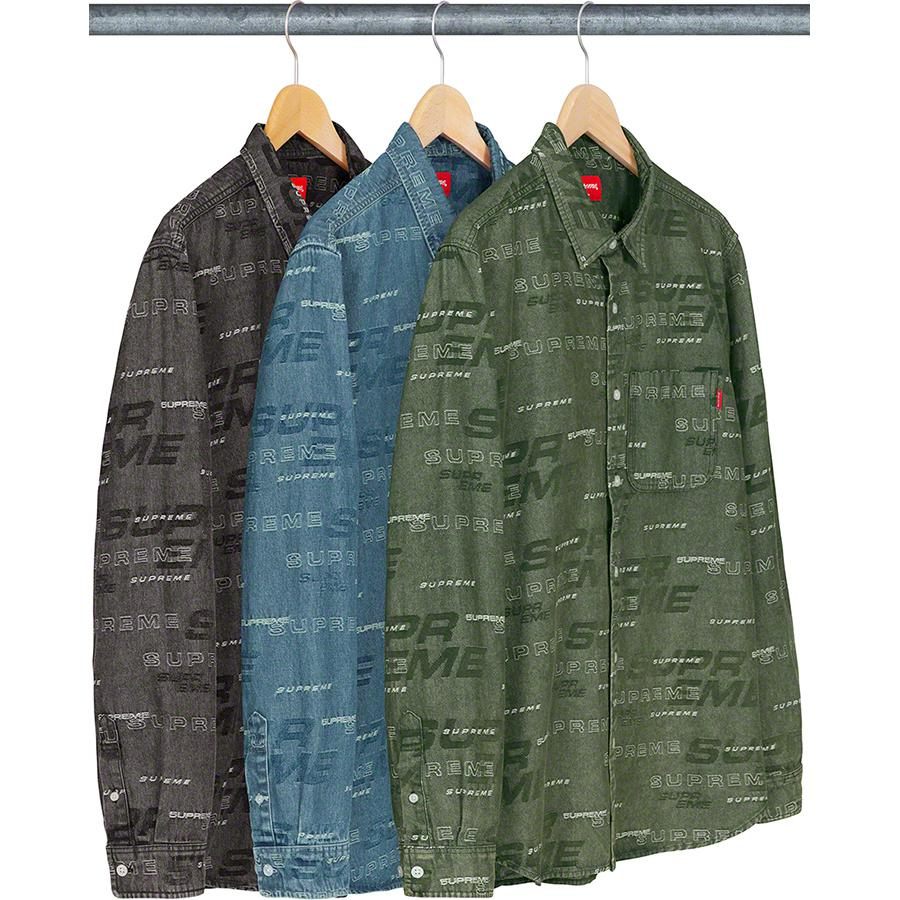 Dimensions Logo Denim Shirt - All cotton denim with jacquard logo pattern and single chest pocket.