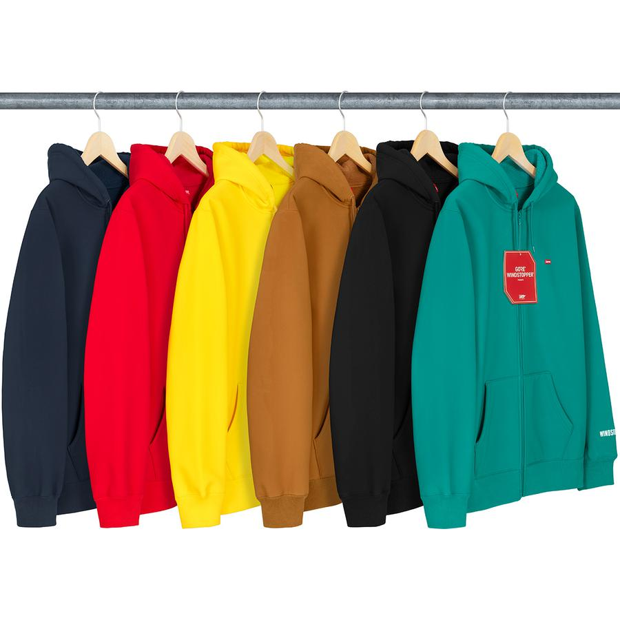 WINDSTOPPER® Zip Up Hooded Sweatshirt - Water resistant GORE® WINDSTOPPER® poly shell with fleece bonded liner. Full zip closure with pouch pocket, logo patch on chest and embroidered logo on wrist.