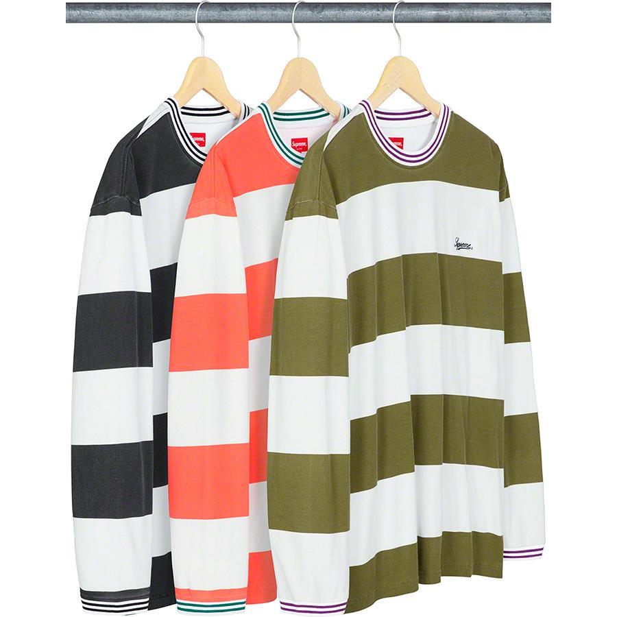 Printed Stripe L/S Top - All cotton jersey crewneck with oversized fit. Stripe rib collar and cuffs with embroidered logo on chest.