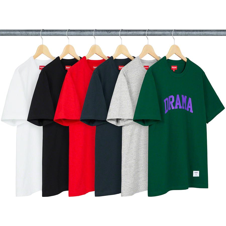Drama S/S Top - All cotton slub jersey crewneck with printed graphic on chest and athletic label at lower front.