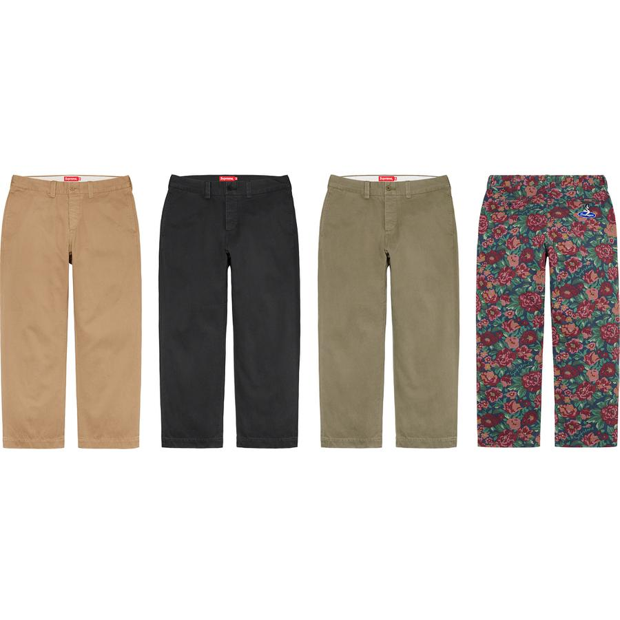 Pin Up Chino Pant - All cotton chino twill with enzyme wash. Relaxed fit with on seam hand pockets, welt back pockets and button fly closure. Embroidered logo on back pocket.