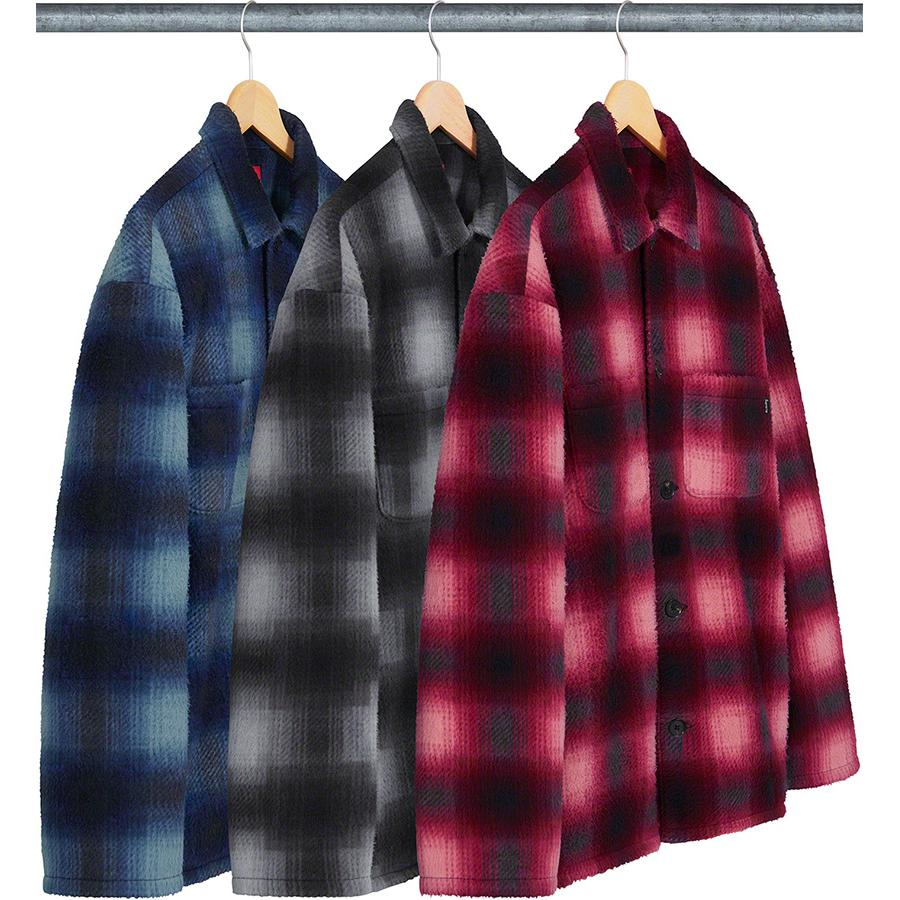 Shadow Plaid Fleece Shirt - Poly fleece with on seam hand pockets and patch pockets at chest.