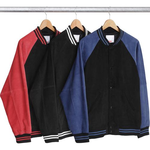 129cc2b753 Suede Varsity Jacket - Suede leather with snap front closure and satin  lining. Chenille appliqué