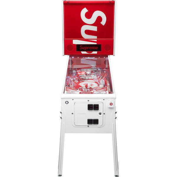 Supreme®/Stern® Pinball Machine - Full size arcade quality Stern® Pinball Machine. Classic construction with two flippers and slingshots and a three-pop bumper array. Features drop and spinner targets, crossing ramps, and multi-ball events. Made exclusively for Supreme.