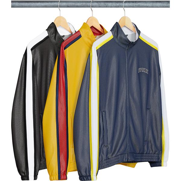 Bonded Mesh Track Jacket - Poly bonded mesh with contrast striped panels on sleeves and embroidered logo on chest.