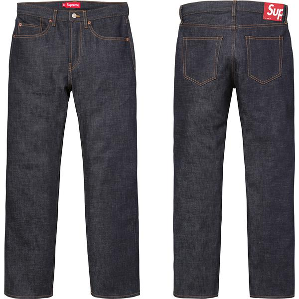 Rigid Slim Jeans - All cotton 14 oz. selvedge denim. Classic 5-pocket style with red leather patch on back.