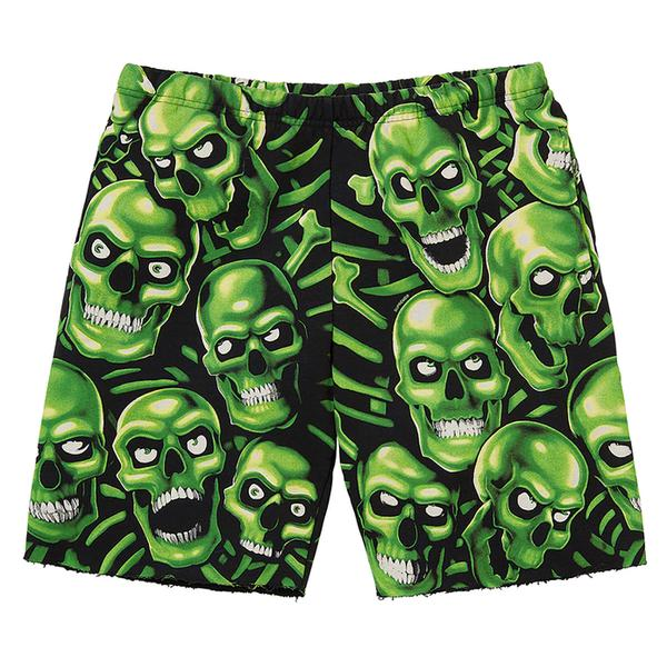 Skull Pile Sweatshort - Cotton fleece with Liquid Blue© Skull Pile glow-in-the-dark printed graphic.