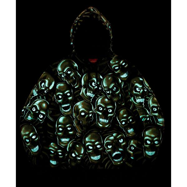 Skull Pile Hooded Sweartshirt - Cotton fleece with Liquid Blue© Skull Pile glow-in-the-dark printed graphic.