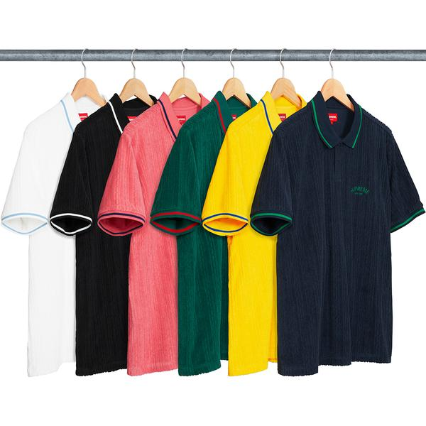 Cable Knit Terry Polo - Cotton blend terry with jacquard pattern and two-button placket. Striped knit rib collar and sleeves with embroidered logo on chest.