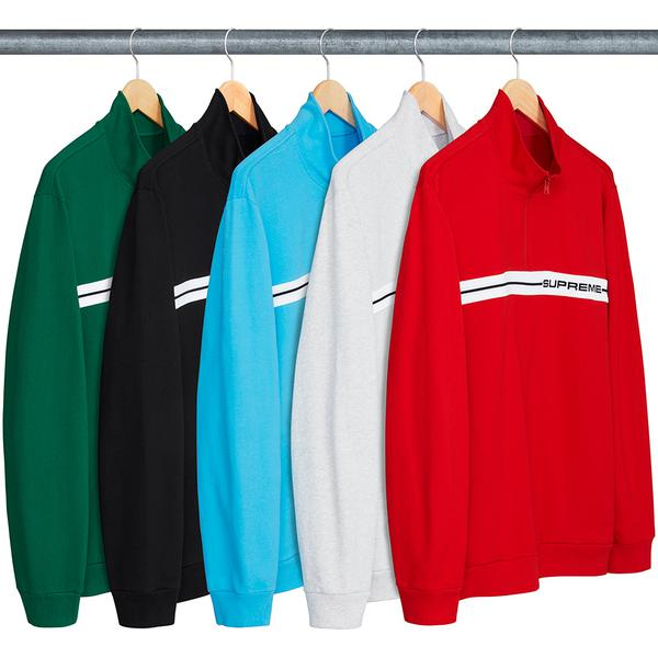 Half Zip Warm Up - All cotton with half zip construction and knit rib logo panel on chest.
