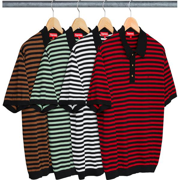 Striped Knit Polo - All cotton knit polo with three-button placket and embroidered logo on chest.